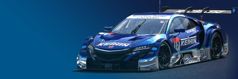 a blue racecar sponsored by us here at Keihin North America